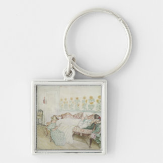 Interior, 1898 Silver-Colored square keychain