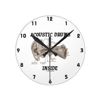 Interior acústico de los tambores (anatomía del oí relojes de pared