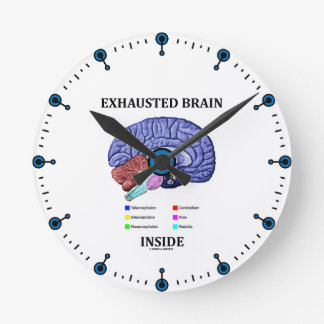 Interior agotado del cerebro (humor anatómico del  reloj redondo mediano