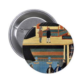 Interior americano del buque de vapor por Utagawa, Pin
