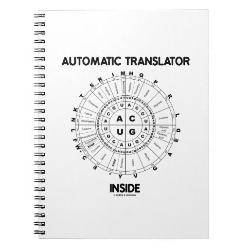 Interior automático del traductor (rueda del codón libros de apuntes con espiral