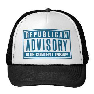 Interior azul consultivo republicano del contenido gorras