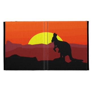 Interior canguro australiano en la puesta del sol