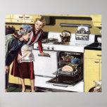 Interior casero del vintage, mamá en cocinar de la póster