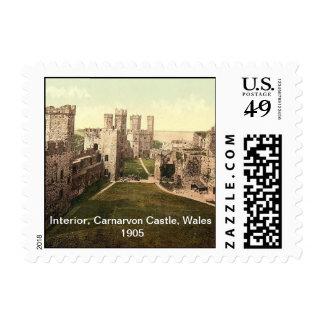Interior, castillo de Carnarvon, País de Gales Sellos Postales