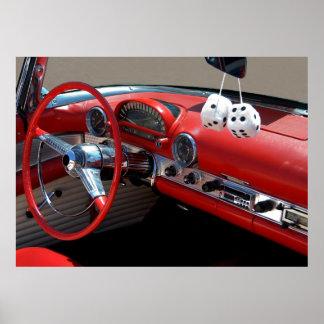Interior clásico del coche poster