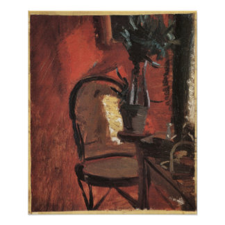 Interior con la silla y planta de Ana Ancher Póster
