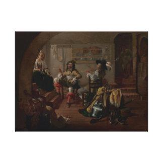Interior con los soldados y las mujeres impresiones en lienzo estiradas