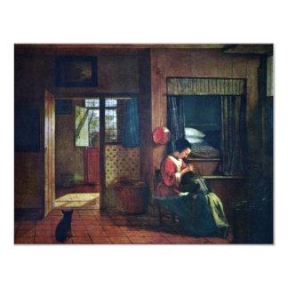 Interior con una madre Delousing el pelo de sus Invitación 10,8 X 13,9 Cm