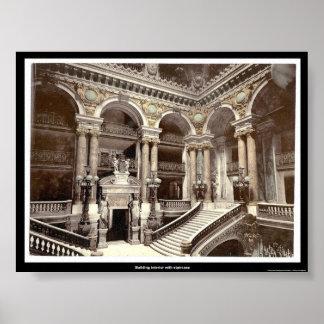 Interior constructivo con la escalera póster