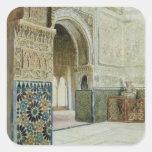 Interior de Alhambra, Granada (w/c) Pegatina Cuadrada