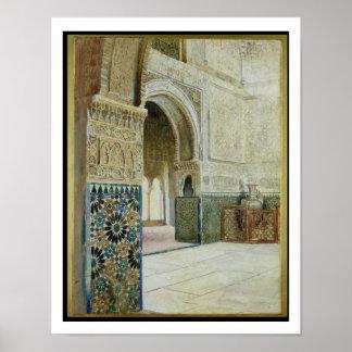 Interior de Alhambra, Granada (w/c) Póster