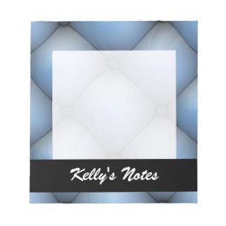 Interior de cuero azul del pliegue y del rollo blocs de papel