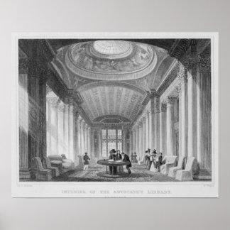 Interior de la biblioteca del abogado, Edimburgo Poster