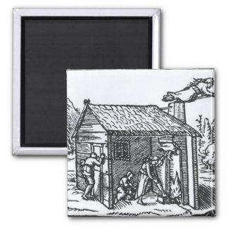 Interior de la casa de una bruja, 1579 imán cuadrado