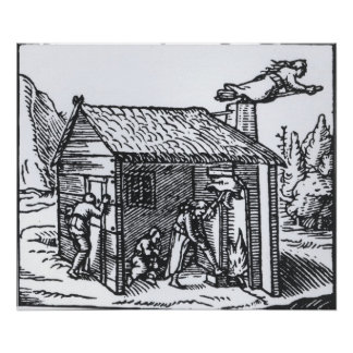 Interior de la casa de una bruja, 1579 póster