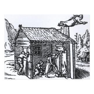 Interior de la casa de una bruja, 1579 postal