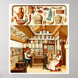 Interior de la casa sueca (muebles y cookware) póster