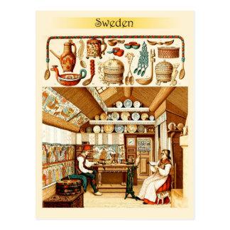Interior de la casa sueca (muebles y cookware) tarjetas postales