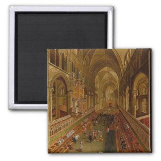 Interior de la catedral de Cantorbery, c.1675-1700 Imán Cuadrado