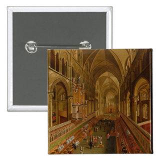 Interior de la catedral de Cantorbery, c.1675-1700 Pin Cuadrada 5 Cm