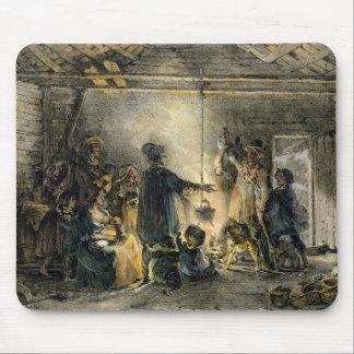 Interior de la choza de un minero de carbón tapete de raton