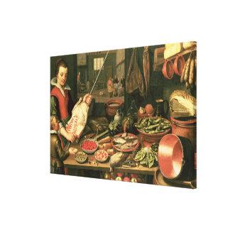 Interior de la cocina con una criada impresión de lienzo