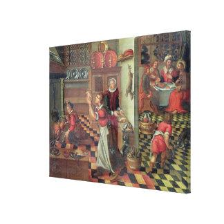 Interior de la cocina, la cena en Emmaus Impresión En Lienzo