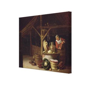 Interior de la cocina lona envuelta para galerías