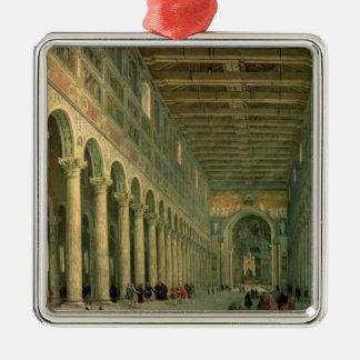 Interior de la iglesia de San Paolo Fuori le Adorno Cuadrado Plateado
