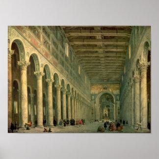 Interior de la iglesia de San Paolo Fuori le Póster