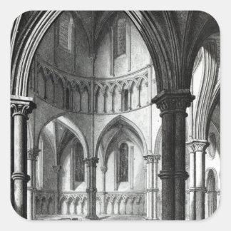 Interior de la iglesia del templo pegatina cuadradas personalizada