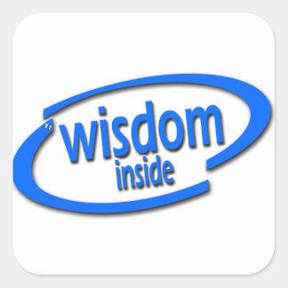 Interior de la sabiduría - Intel divertido parodia Calcomanías Cuadradas