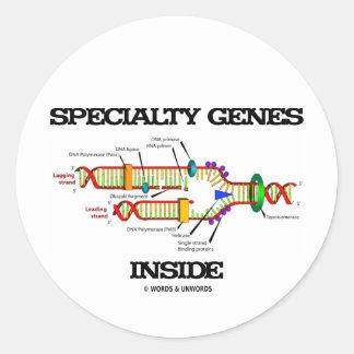 Interior de los genes de la especialidad (réplica pegatina redonda
