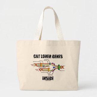Interior de los genes del amante del gato (réplica bolsa tela grande