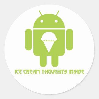 Interior de los pensamientos del helado insecto a pegatinas