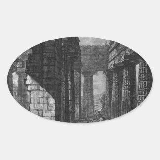 Interior de los pronaos del templo sí mismo pegatina ovalada