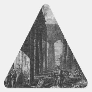 Interior de los pronaos del templo sí mismo pegatina triangular