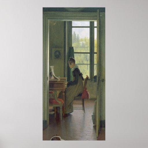 Interior de un comedor, detalle de una mujer posters