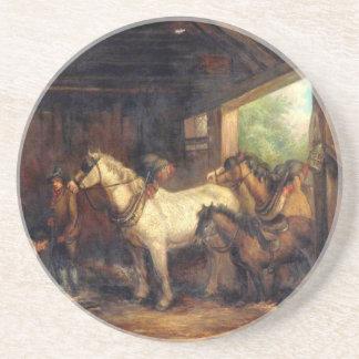 Interior de un establo de George Morland Posavasos De Arenisca