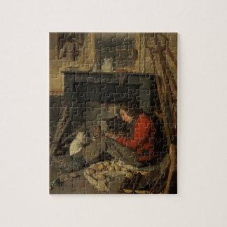 Interior de un estudio, 1845 (aceite en lona) puzzles con fotos