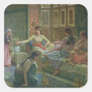 Interior de un Harem, c.1865 Pegatina Cuadrada