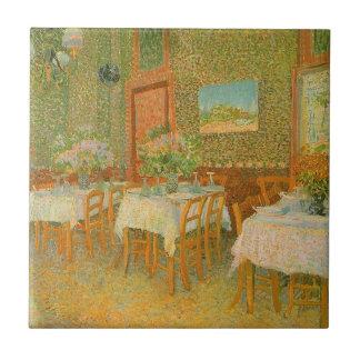 Interior de un restaurante de Vincent van Gogh Azulejo Cuadrado Pequeño