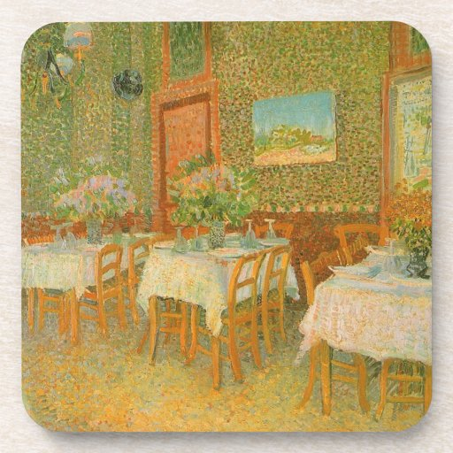 Interior de un restaurante de Vincent van Gogh Posavasos