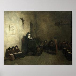 Interior de una escuela para los chicas dejados hu póster