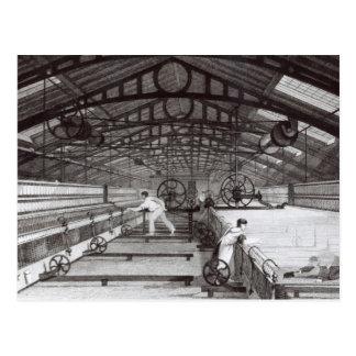 Interior de una fábrica de algodón postales