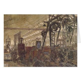 Interior de una fábrica de las municiones, 1916-17 tarjeta de felicitación