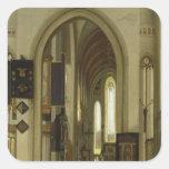 Interior de una iglesia con las figuras, 1685 pegatina cuadrada