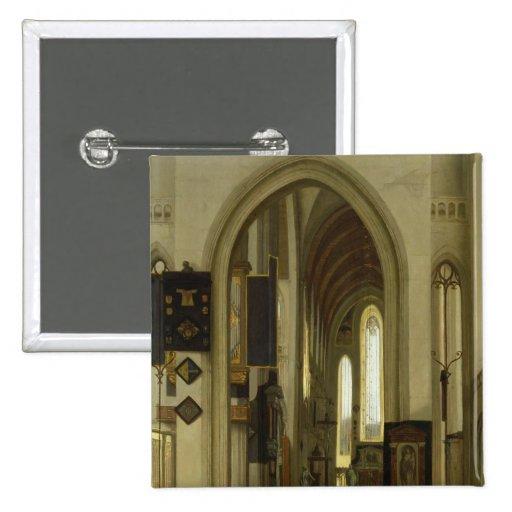 Interior de una iglesia con las figuras, 1685 pin cuadrada 5 cm