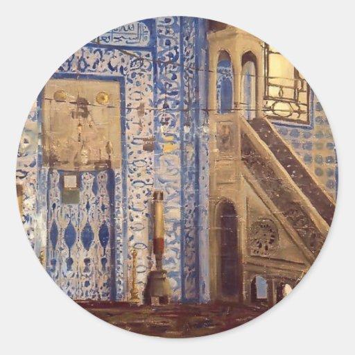 Interior de una mezquita por Jean-León Gerome Pegatina Redonda
